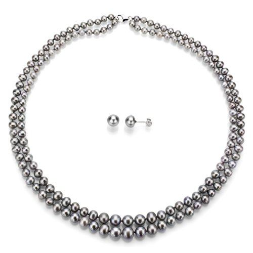 Sterling Silver Graduated 4-8.5mm 2rows Dyed-grey Freshwater Cultured Pearl Necklace and Stud Earrings