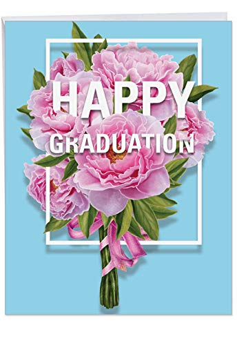- Flowers for Grad - Hilarious Happy Graduation Card with Envelope (Extra Large 8.5 x 11 Inch) - Floral Graduation Day Congratulations Card for the Grad - Stationery Greeting Notecard J3532GDG
