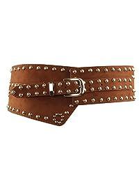 Per PU Leather Belt Wide Metal Waistband Belt for Dress
