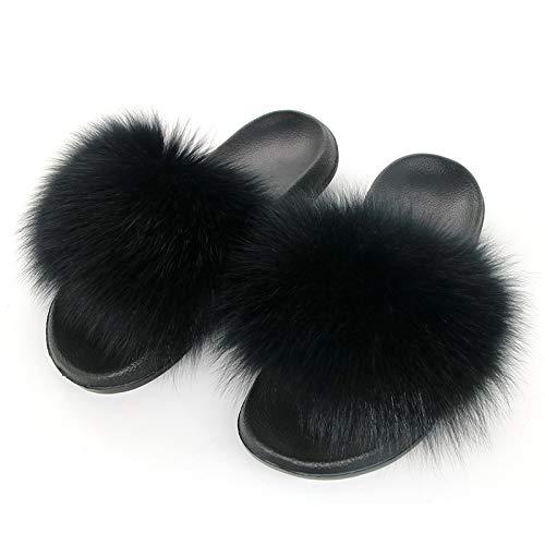 Amazon com | Women Fur Slippers Real Fox Fur Slides Designer