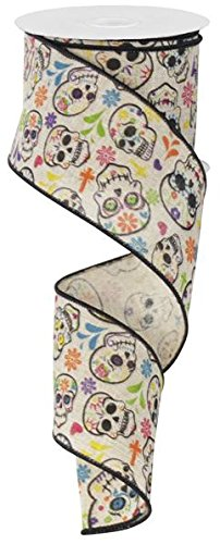 Day of the Dead Sugar Skulls Wired Edge Ribbon, 2.5
