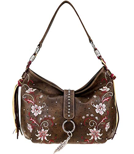 Tassel Accented Hobo Handbag - New! Montana West Floral Embroidered Fringe Accent Large Hobo (Coffee)