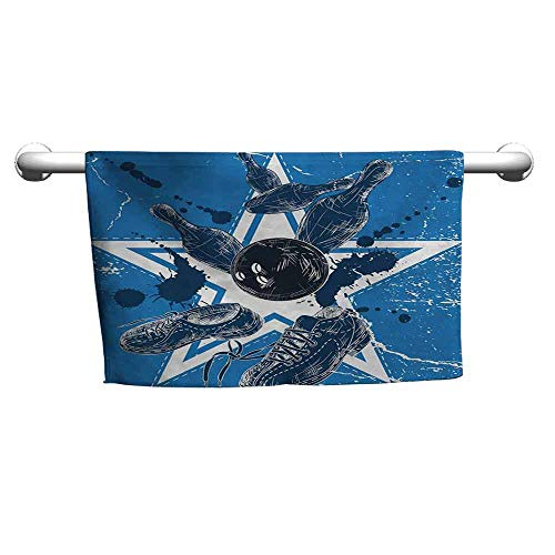 - Abeocg Bowling Party Super Water Absorption Towel Grunge Composition with Star Figure Color Splashes Shoes and Pins Reuse Blue Black and White W12 xL35
