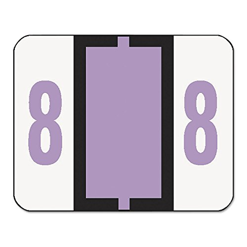 Smead 67378 Single Digit End Tab Labels Number 8 Lavender 500/Roll ()
