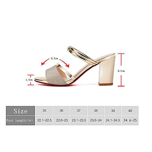 LIXIONG Portátil Pantuflas de verano femenino Sandalias de desgaste al aire libre con estilo Zapatillas de tacón alto de sandalias Dos desgaste -Zapatos de moda ( Color : A , Tamaño : 40 ) A