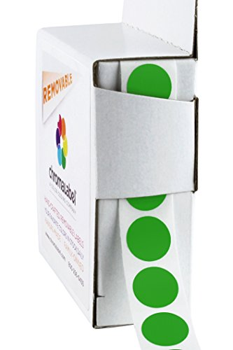 (ChromaLabel 1/2 inch Removable Color-Code Dot Labels | 1,000/Dispenser Box (Green))