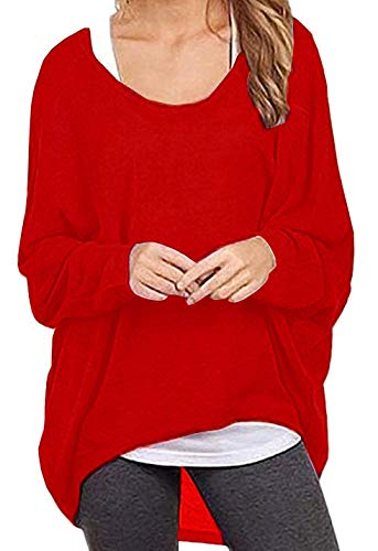 Red Boatneck Sweater - Dutebare Women Oversized Baggy Shirts Batwing Sleeve Pullover Tops Casual Knit Blouse Red XL