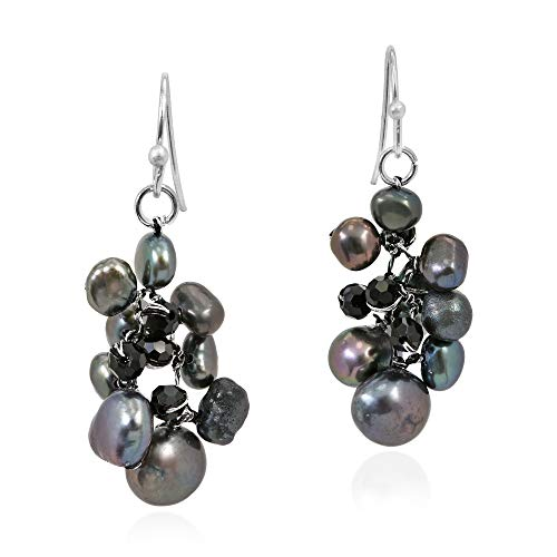 Sophisticated Elegance Cultured Freshwater Black Pearl Crystal Cluster Sterling Silver Dangle ()
