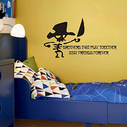 FlyWallD Walk The Plank Pirate Theme Wall Decal Vinyl Quotes Sticker for Kids Boys Room Nursery Cute Decor - Brother That Play Together Stay Friends -