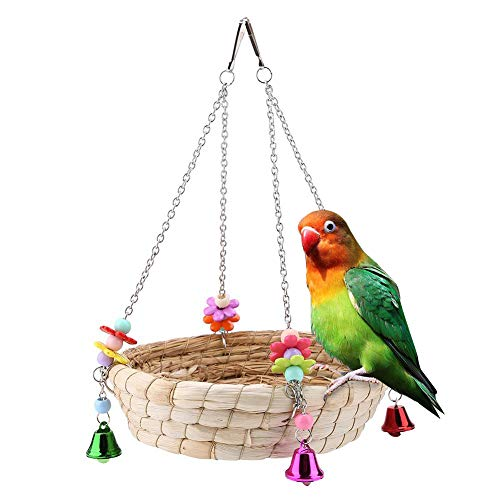 Aland Parrot Toy,Colorful Beads Bell Pet Bird Toy Parrot Hang Basket Swing Straw Nest Cage Decor Wood Color