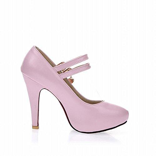 Carol Chaussures Élégance Femmes Boucles Mary Jane Pendentif En Métal Mode Haute Talon Robe Pompes Chaussures Rose