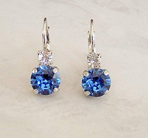 Simulated Sapphire Round Crystal Studded Top Leverback Earrings September Birthstone Gift Idea SP