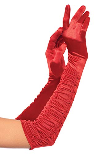 Leg Avenue Women's Opera Length Ruched Satin Gloves, Red, One Size