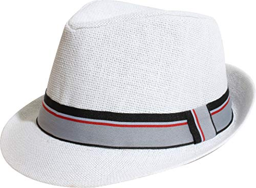 Enimay Unisex Vintage Fedora Hat Classic Timeless Light Weight (S-M, 2122 White)