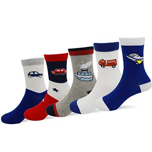 LUKAER Boys Cotton Crew Socks Kids 4-7 Years Old Seamless Toe Socks Colorful Athletic Fashion Socks Gift Set 5 Pairs Car1 S