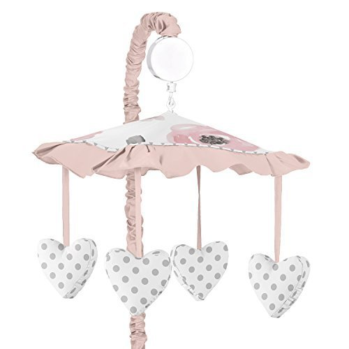Sweet Jojo Designs Blush Pink, Grey and White Musical Baby Crib Mobile for Watercolor Floral Collection
