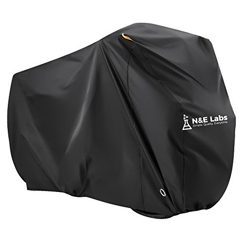 Bike Cover Waterproof Outdoor Bicycle Storage for 2 Bikes - Rain, UV Sun, Dust & Wind Proof Tarp for Mountain, Road, Electric & Cruiser Bike Protection | Lightweight Carrying Bag Included (Black, XL) by N&E Labs