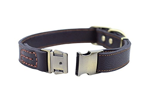 Strimm Luxury Classic Adjustable Genuine Tanned Leather Pet Dog Canine Collar with Quick Release Metal Buckle for Large Breed Pets-Brown