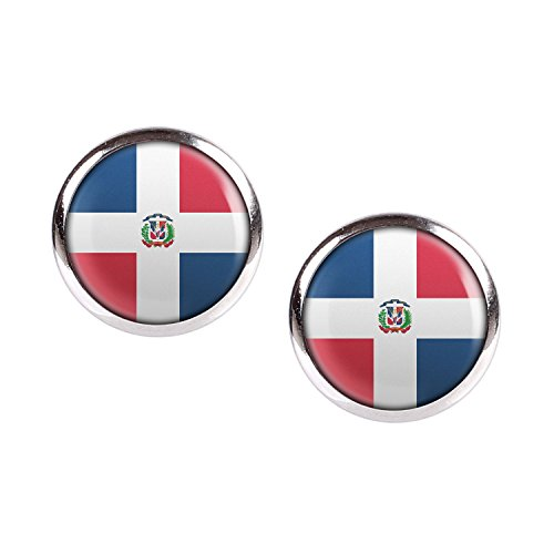 a25193b1917 Mylery Stud Earring Pair with Cabochon Picture Country Flag Colors Dominican  Republic Silver 0.47 inch