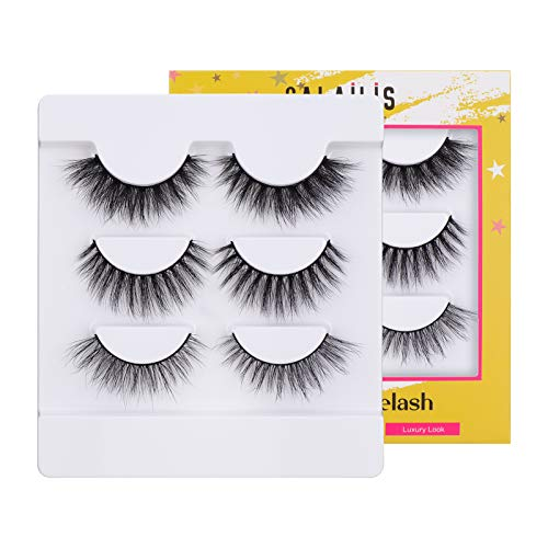 CALAILIS 3D Mink Eyelash, Vegan False Eyelashes, 5D Fake Eyelashes, Fluffy Volume Dramatic Handmade 3D Layered Effect Reusable Eyelashes 3 styles CFD301 1