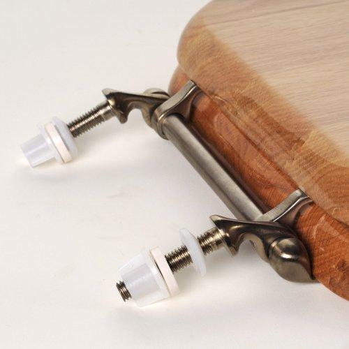 Comfort Seats C1B1R-17BN Designer Solid Wood Toilet Seat with Brushed Nickel Hinges Round Oak C2B1R17BN