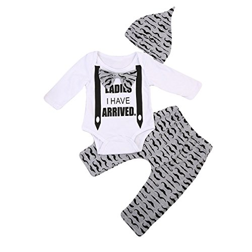 Newborn Boy Girl 3pcs Set Mustache Beard Long Sleeve Romper+Pants+Hat (0-3months, White&Ladies I have arrived)