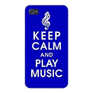 Apple Iphone Custom Case 4 4s White Plastic Snap on - Keep Calm and Play Music w/ Treble Clef & Notes