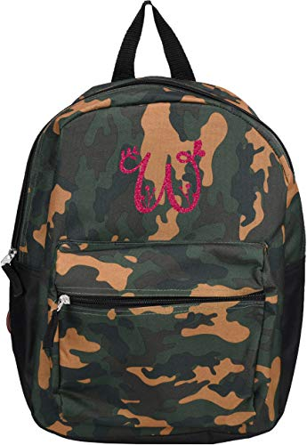Monogrammed Me Children's Backpack, Green Camo, with Glitter Garden Monogram W -