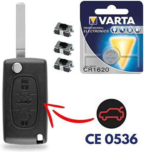 Batteria sulla scheda Cover Guscio Scocca Chiave Telecomando 2 Tasti per Peugeot 107 207 307 407 308 409 407 607 con Portachiavi in Pelle KASER
