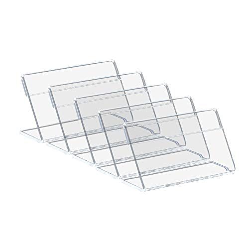 SuperMMarK 7x4cm Clear Acrylic Sign Display Holders - Single Sheet Slanted Easel, Photo Ad Frames Menu Card Tag Counter Top Stand Case 30 Pack