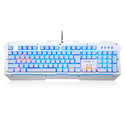 AULA Reaper 104 Key Collision Free Backlight PC Gaming Metal Mechanical Keyboard (Silver and White, Blue Light, Blue Switches)