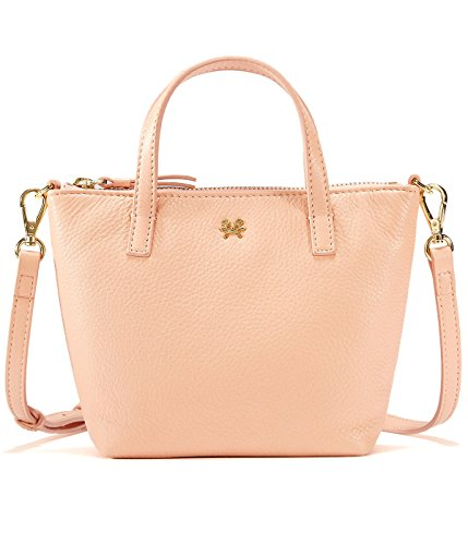 EMINI HOUSE Influencer Mini Tote Handbag Genuine Leather Handle Bag-Light Pink