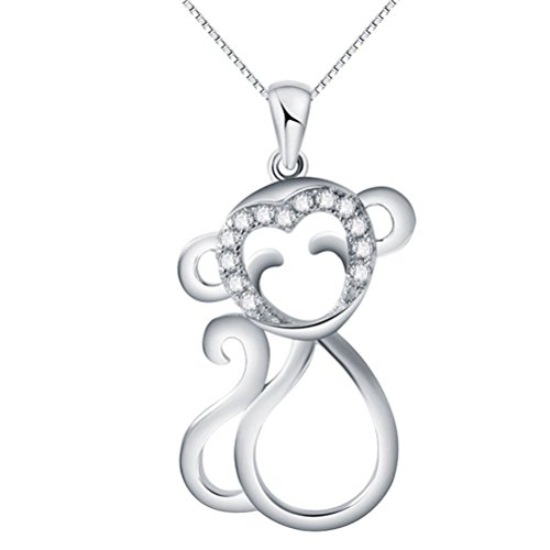 Sojewe 925 Sterling Silver Monkey Pendant White Gold Plated Cubic Zirconia Women Necklace Birthday (White Gold Monkey)