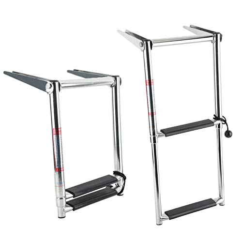- Amarine Made 2 Step Telescoping Swim Marine Boat Ladder Stainless with Built in Handle