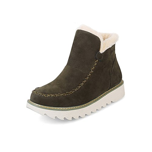 Boots Snow Boots Heel Water Bronze Womens Rubber Closure No Boots No Quilted 1TO9 Suede Resistant Suede MNS02492 Lining Bootie Warm Road 5qEtPR4w