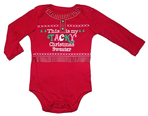 Tacky Outfit (Assorted Santa, Reindeer Baby Boys & Girls Christmas Bodysuit Dress Up Outfit (3-6 Months, This Is My TACKY Christmas Sweater))