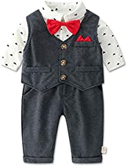 WYTbaby Baby Boys Gentleman Suit Tuxedo Blazers Newborn Christening Gowns Clothing Sets