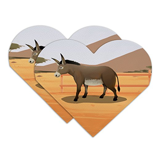 Donkey on Ranch Heart Faux Leather Bookmark - Set of ()