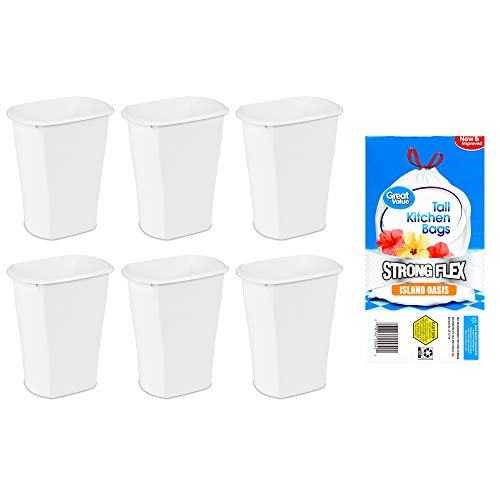 A.T. Products Corp. Sterilite, 3 Gal./11.4 L Rectangular Wastebasket in White, Case of 6 Bundle with Great Value Strong Flex Tall Kitchen Drawstring Trash Bags, Island Oasis 13-Gallon, 45 Count