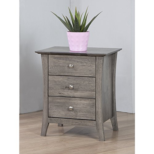 Vermont Stone 3-drawer Bedside Table | With Metal Pulls | Sturdily Built and Neutrally - French Table Provincial Coffee