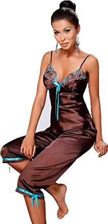 Irall Lucrece Chocolate Brown Satin Pyjamas (Medium): Amazon.co.uk: Clothing