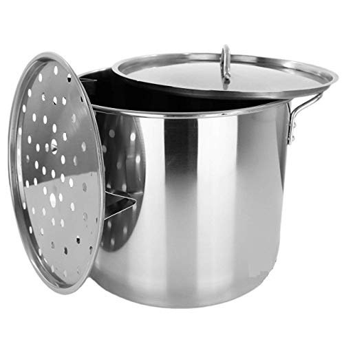 - Stock Pot Stainless Steel 32QT Steamer Pot Brew Vaporera Tamalera Tamales New 8 Gal