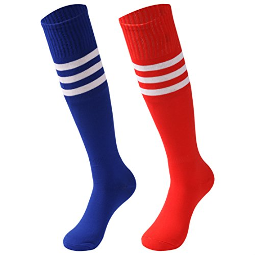 Fashion Stripe Sock - saounisi Men Tube Socks , 2 Pairs Knee High Fashion Striped School Team Socks Size 9-13 Red/Navy