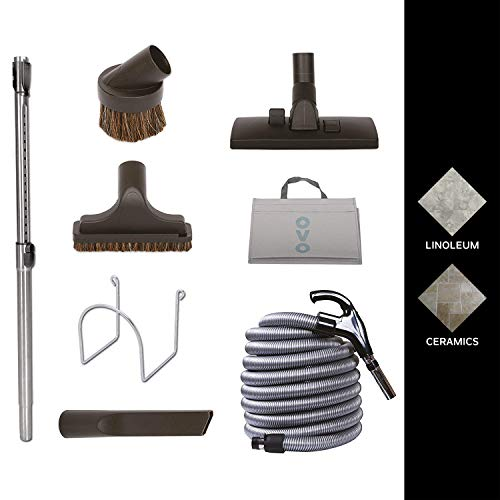 Nadair KIT-LV35S-OVO Central Vacuum Hardwood Floor Brush Cleaning Tools Attachment Kit - Tile Floors and Hard Surfaces - 35 ft. Switch Control Crushproof Hose, Black & -