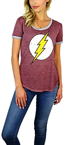 Comics Sheer T-shirt (DC Comics Womens Flash Distressed Logo Burnout Ringer Tee (Medium, Brick))
