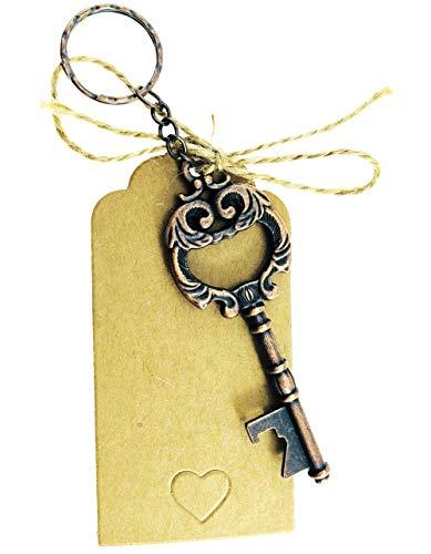 50 PCS Vintage Skeleton Key Bottle Opener with Keychain,Skeleton Key Bottle Openers Wedding Favors Baby Shower,Bridal Shower Rustic Decoration with Kraft Paper Card and Twine (Antique Copper) -