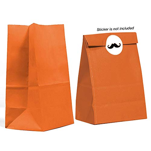 40CT Biodegradable, Food Safe Ink & Paper, Premium Quality Paper (Thicker), Paper Bag, Kraft Paper Sack, Goody Bags, Treat Sacks, Perfect for Party Filled with Small Favors (Medium, Orange)