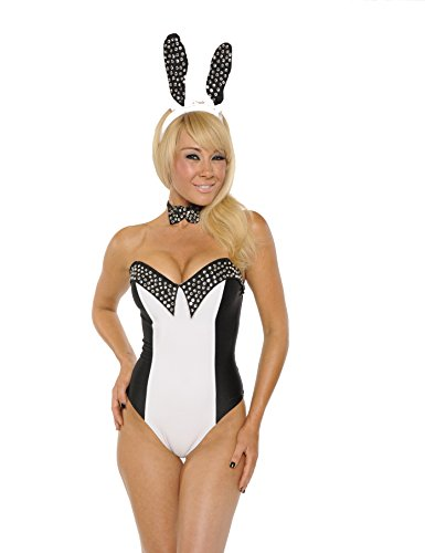Playgirl Bunny Halloween Costumes (Nom de Plume, Inc Sexy 3Pc Playgirl Bunny Bodysuit Costume Set Large Black/White)