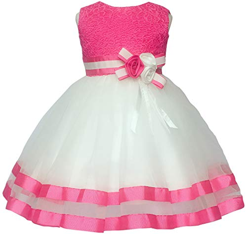Jup'Elle Baby Girl Dresses Pink Birthday Wedding Party Little Flower Girl Pageant Princess Rose Dress 3 6 9 Months]()