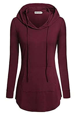 Nandashe Women Pullover V-neck Long Sleeve Kangaroo Pocket Tunic Hoodies
